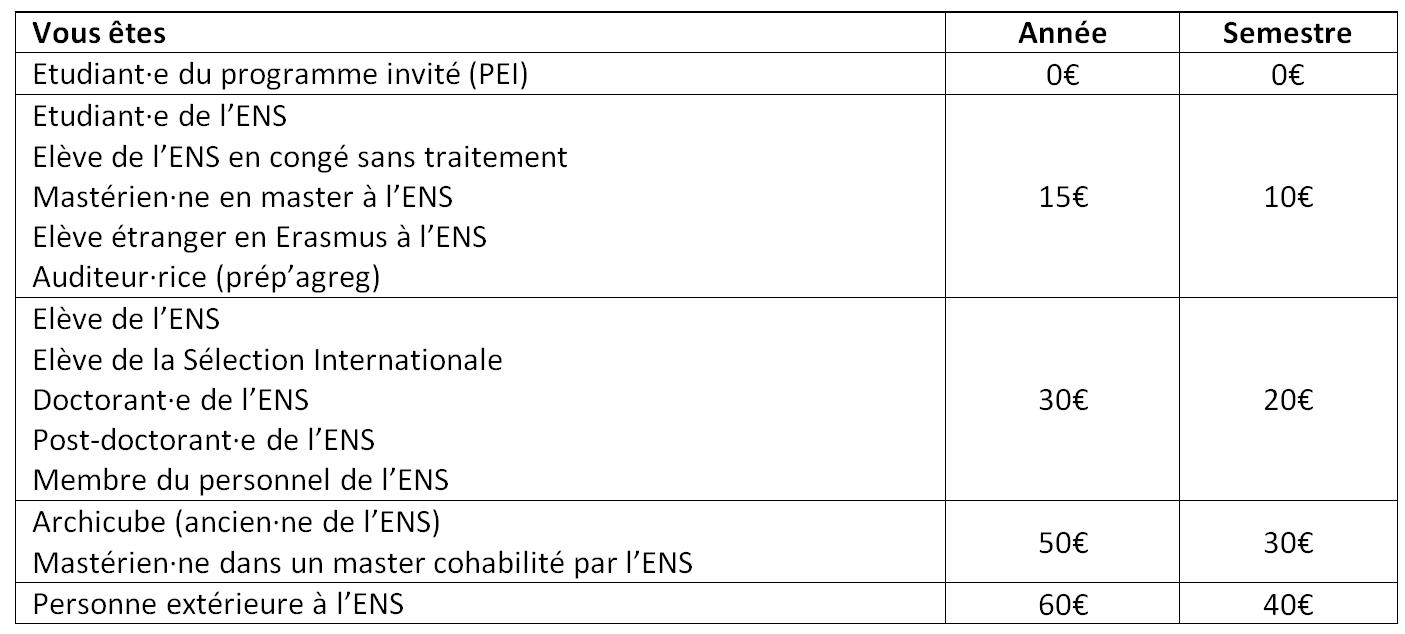 tableau tarifs BDS 2019 recadré